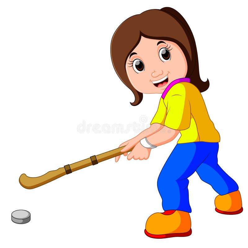 Rolig flickatecknad film som spelar hockey royaltyfri illustrationer