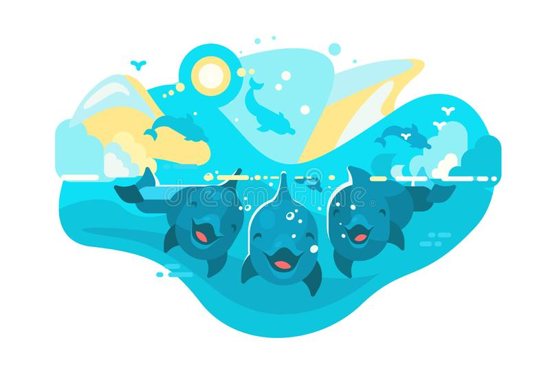 Rolig flock av delfin som simmar i havet royaltyfri illustrationer