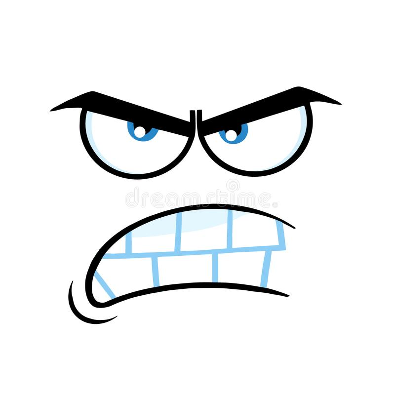 Rolig framsida för aggressiv tecknad film med ilsket uttryck royaltyfri illustrationer