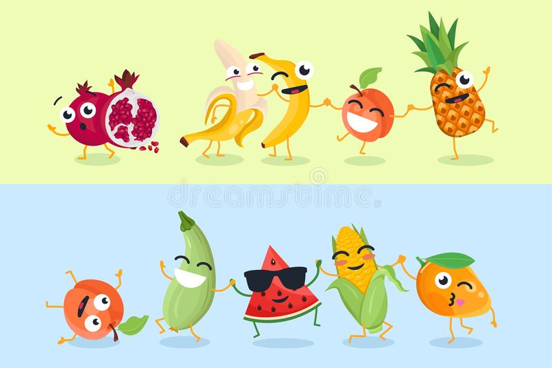 Rolig frukt och grönsaker - uppsättning av illustrationer för vektortecknad filmtecken royaltyfri illustrationer