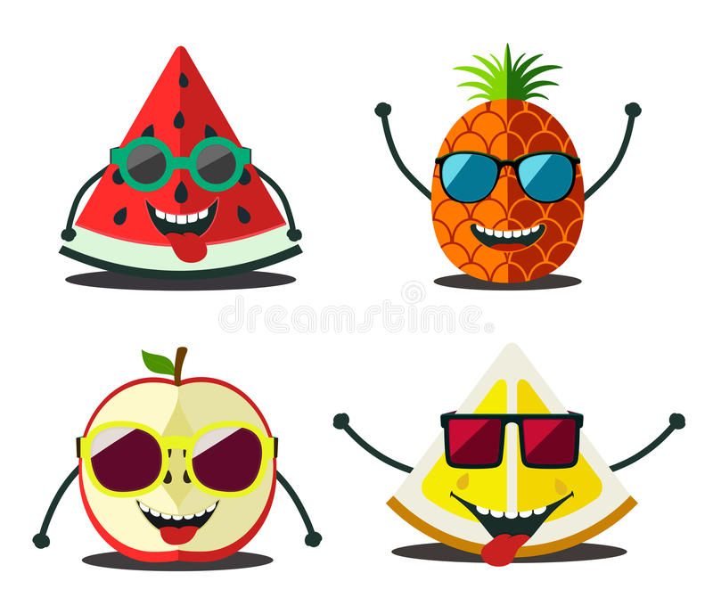 Rolig fruktuppsättning Designtecknade filmen skivar mat vektor illustrationer