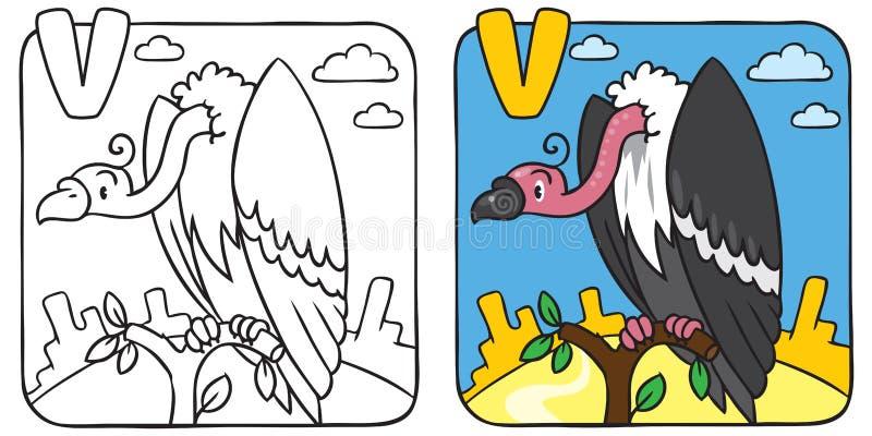 Rolig gamfärgläggningbok Alfabet V stock illustrationer