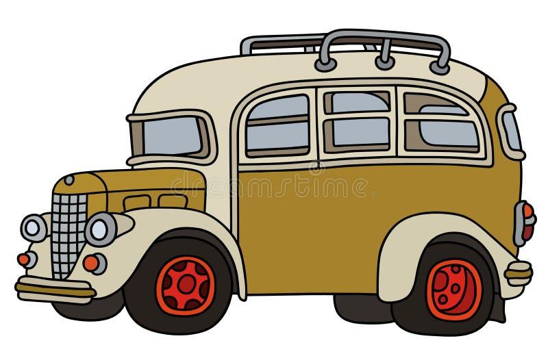 Rolig gammal buss royaltyfri illustrationer