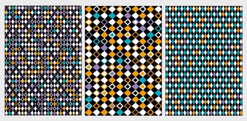 Rolig geometrisk abstrakt vektormodelluppsättning Färgrika romber på svarta bakgrunder stock illustrationer