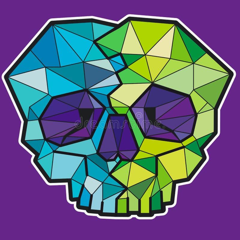 Rolig geometrisk f?rgrik skalle symbol eller klistermärke vektor illustrationer