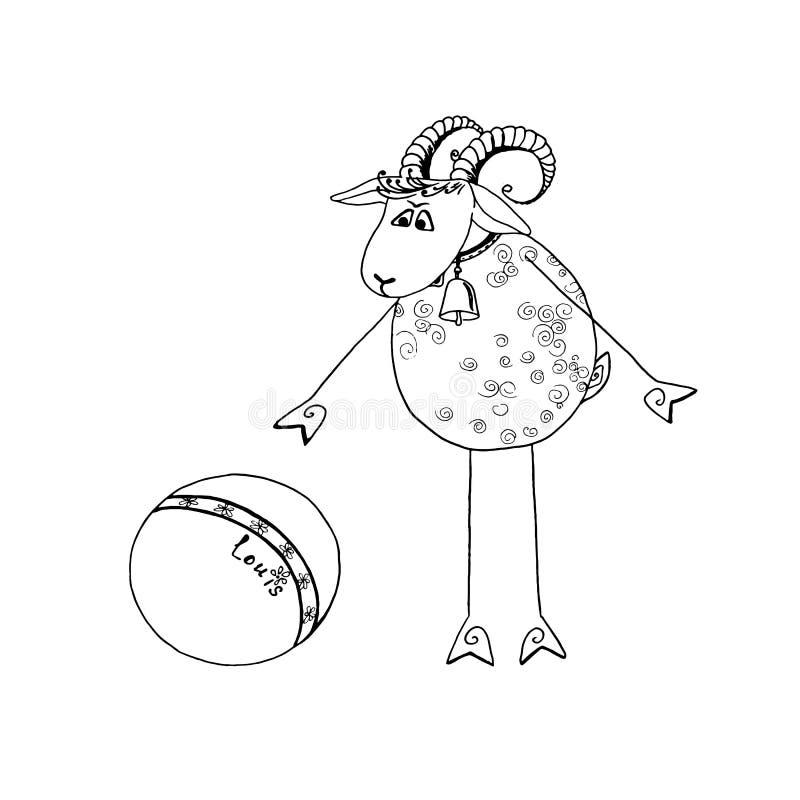 rolig get louis som spelar bollen vektor illustrationer