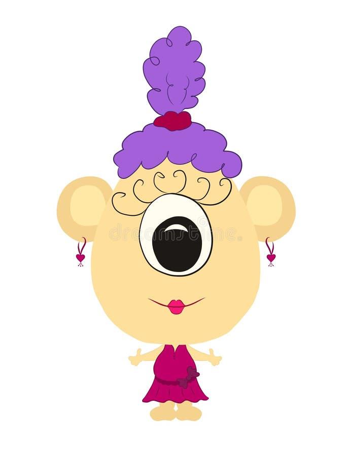 Rolig gigantisk flicka med ett huvud i formen av ett ägg, en creativ stock illustrationer