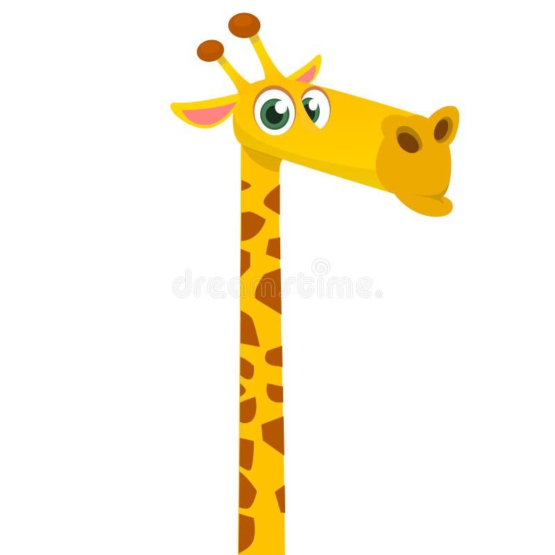 Rolig giraff för tecknad film Vektorillustration av afrikanskt le för savanngiraff stock illustrationer