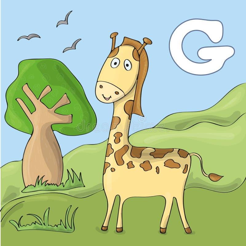 Rolig giraff på zoo Gulligt djurt alfabet för abcbok Vektorillustration av tecknad filmdjur Giraff för F royaltyfri illustrationer