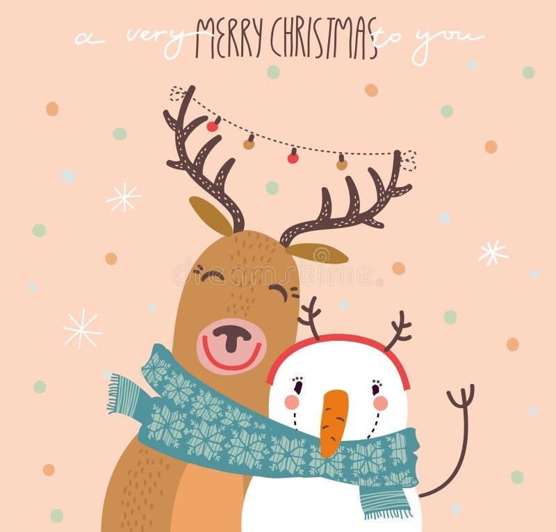 Rolig glad julkort med renen och en snögubbe stock illustrationer