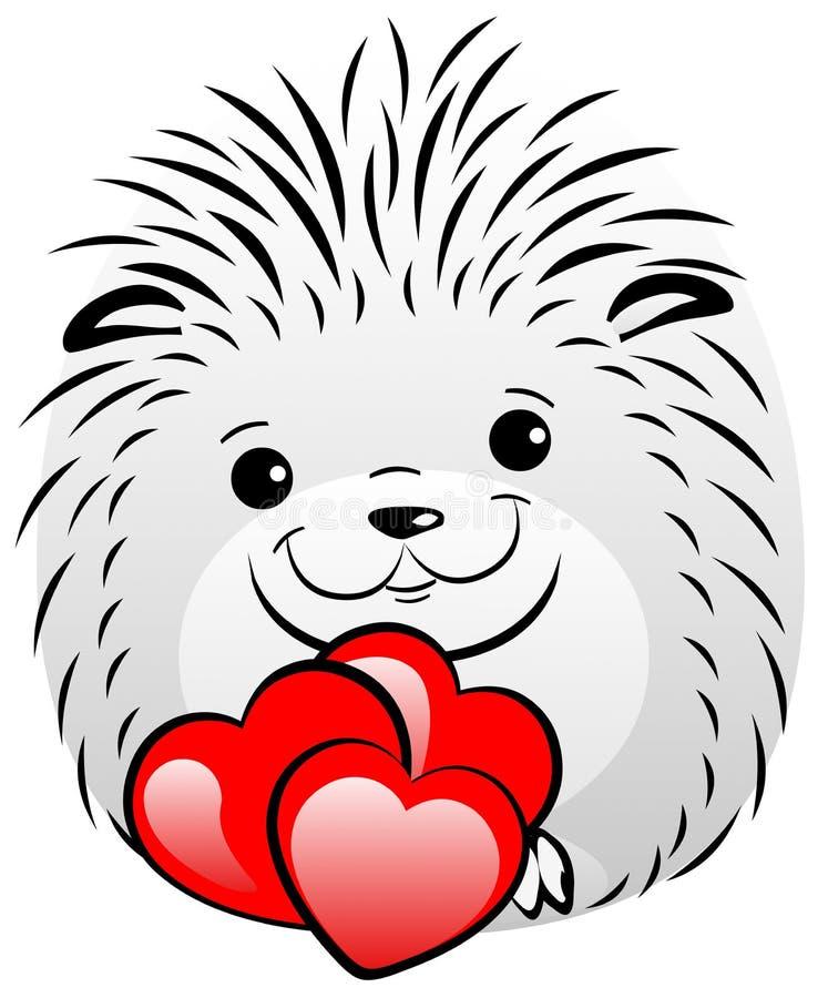 Rolig grå igelkott med röda hjärtor vektor illustrationer