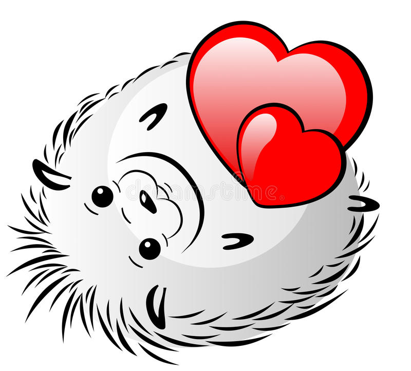 Rolig grå igelkott med röda hjärtor stock illustrationer