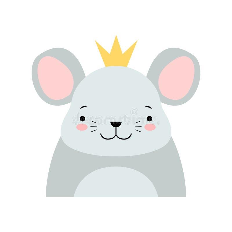 Rolig grå mus i den guld- kronan, för teckenavatar för gullig tecknad film djur illustration för vektor på en vit bakgrund royaltyfri illustrationer