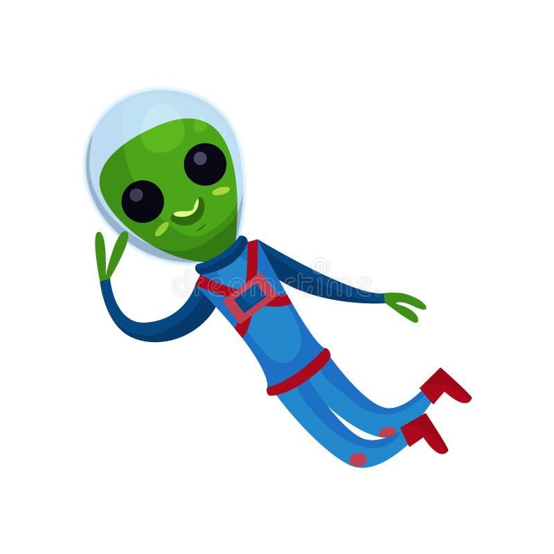 Rolig grön främling med stora ögon som bär blått flyg för utrymmedräkt i utrymme, främmande positiv teckentecknad filmvektor stock illustrationer
