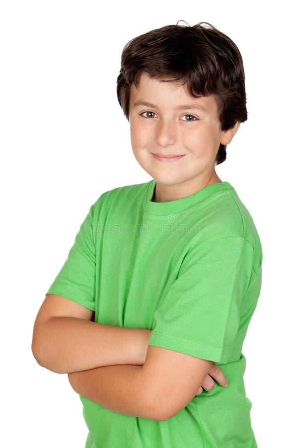 rolig grön skjorta t för barn royaltyfria foton