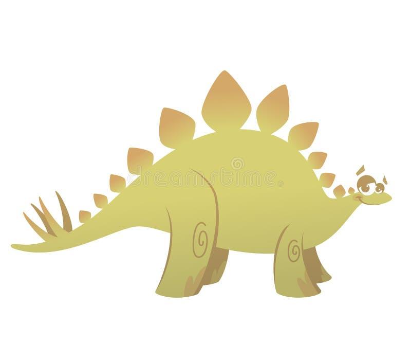 Rolig grön stegosaurusdinosaurie för tecknad film royaltyfri illustrationer