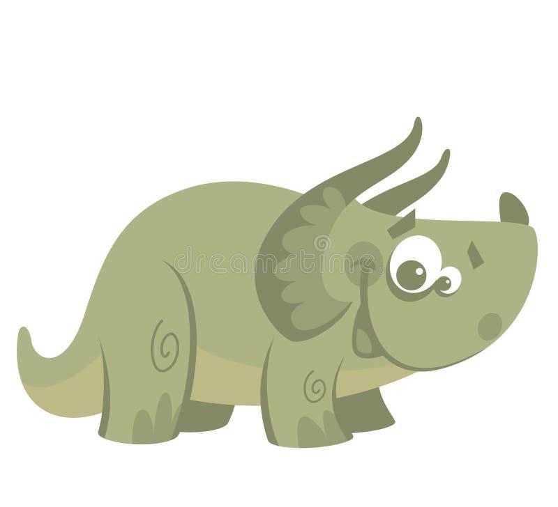 Rolig grön triceratopsdinosaurie för tecknad film vektor illustrationer