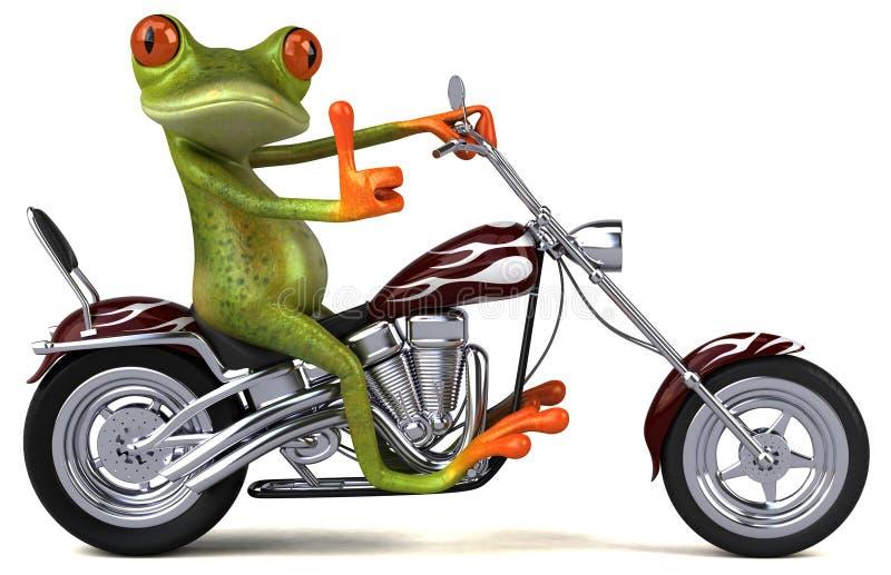 Rolig groda på en motorcykel - illustration 3D royaltyfri illustrationer