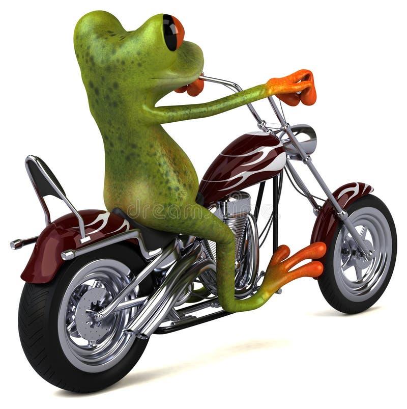 Rolig groda på en motorcykel - illustration 3D vektor illustrationer