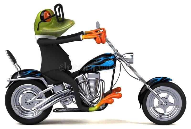 Rolig groda på en motorcykel - illustration 3D stock illustrationer