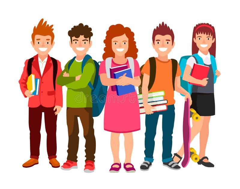 Rolig grupp av skolbarn med ryggsäckar och läroböcker royaltyfri illustrationer