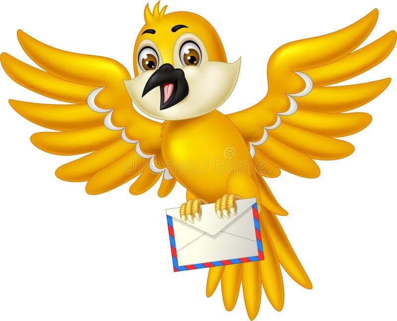 Rolig gul fågel med posttecknade filmen royaltyfri illustrationer