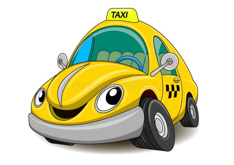 Rolig gul taxi för tecknad film royaltyfri illustrationer