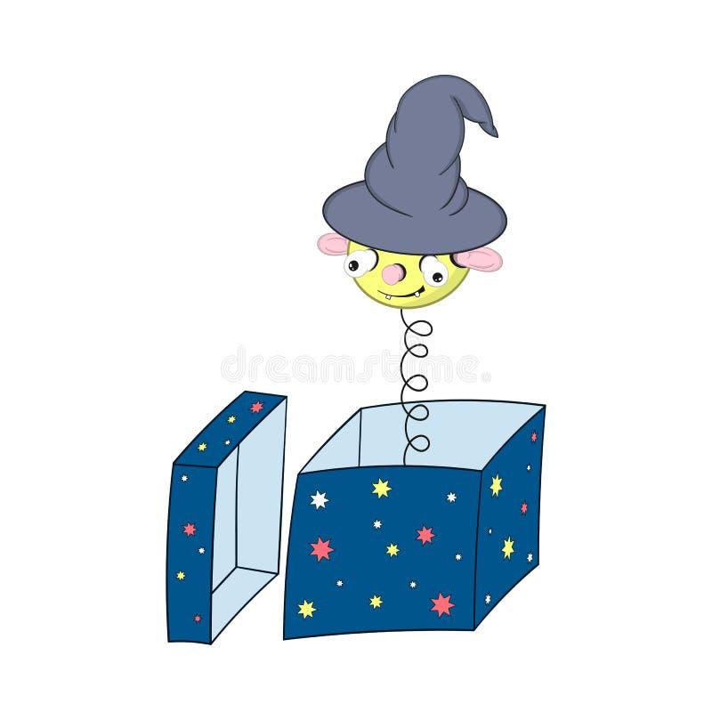 Rolig gul tecknad filmvår i en trollkarls hatt - med ett huvud, öron, ögon och munblickar ut ur en gåvaask och leenden stock illustrationer