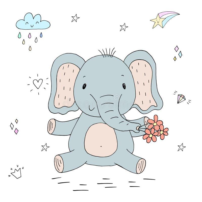 Rolig gullig elefanttecknad filmstil Jultomte i ett lock, i hörlurar med mikrofon, med en julklubba in till munnen vektor illustrationer