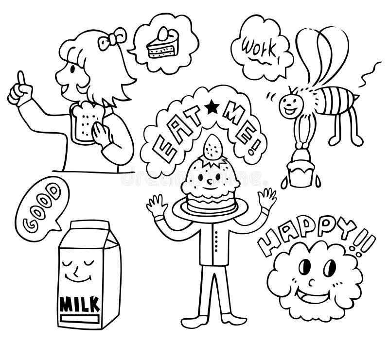 rolig gullig mat för tecknad film stock illustrationer