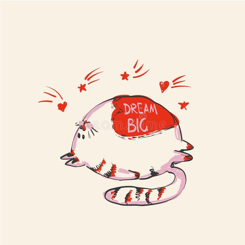 Rolig gullig rund katt med ordet DRÖM som ÄR STOR på buken under fallande stjärnor, modetryck eller rengöringsdukvektordesign stock illustrationer