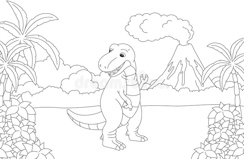 Rolig gullig tyrannosarie på bakgrunden av en förhistorisk natu stock illustrationer