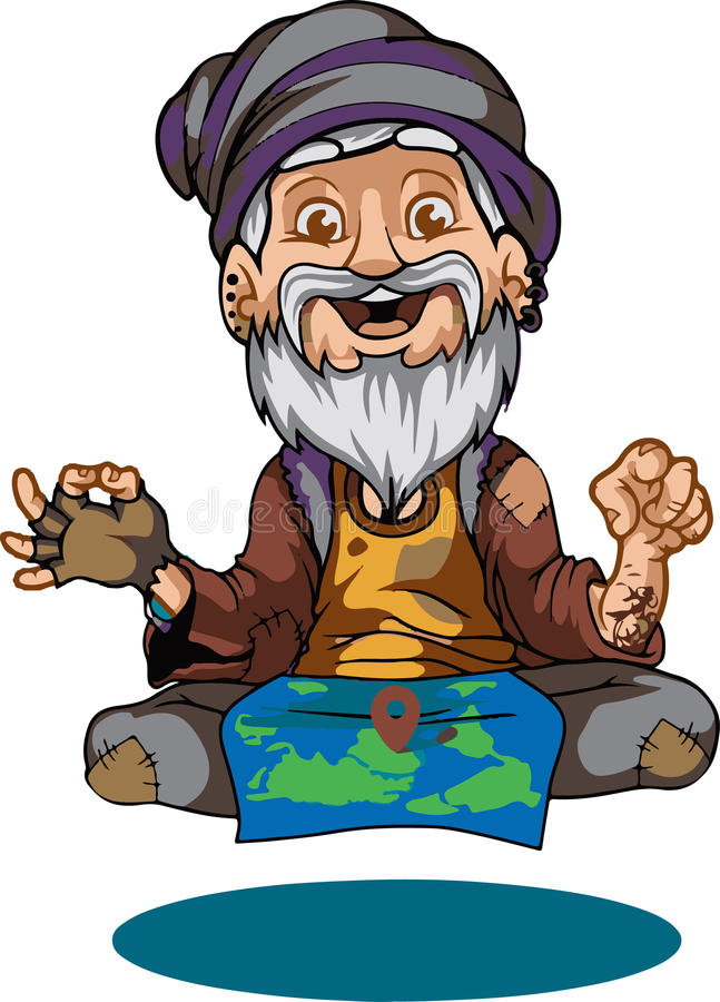 Rolig guru stock illustrationer