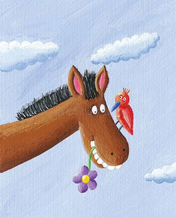 rolig häst royaltyfri illustrationer