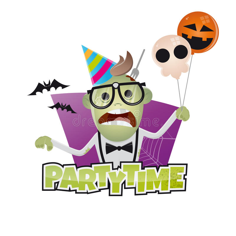 Rolig halloween partiman stock illustrationer