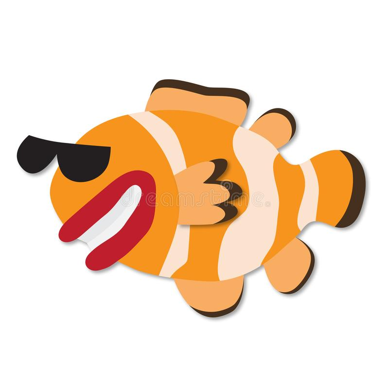 Rolig hand dragen tecknad filmclownfisk pappers- konststil Vektor 3D Le clownfisken i solexponeringsglas som isoleras på vit royaltyfri illustrationer