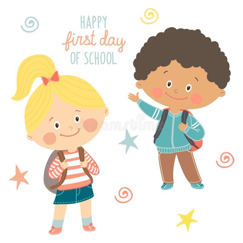 Rolig hand drog ungar med ryggsäckar Gullig pojke och flicka med skolväskor Lycklig första dag av skolakortdesignen cartoon stock illustrationer