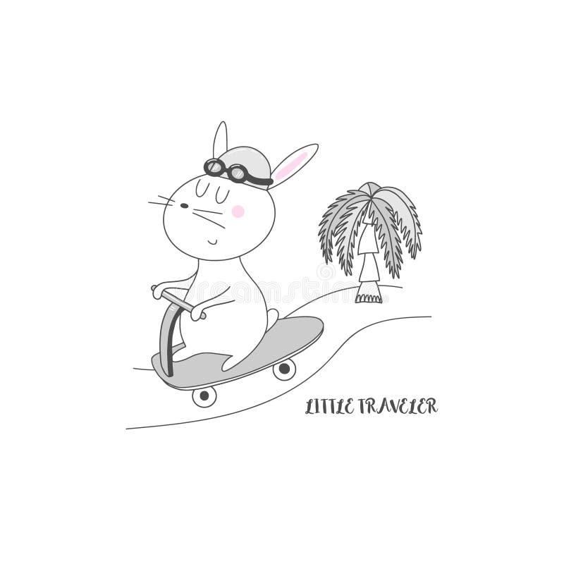 Rolig hare med sparkcykelillustrationen royaltyfri illustrationer