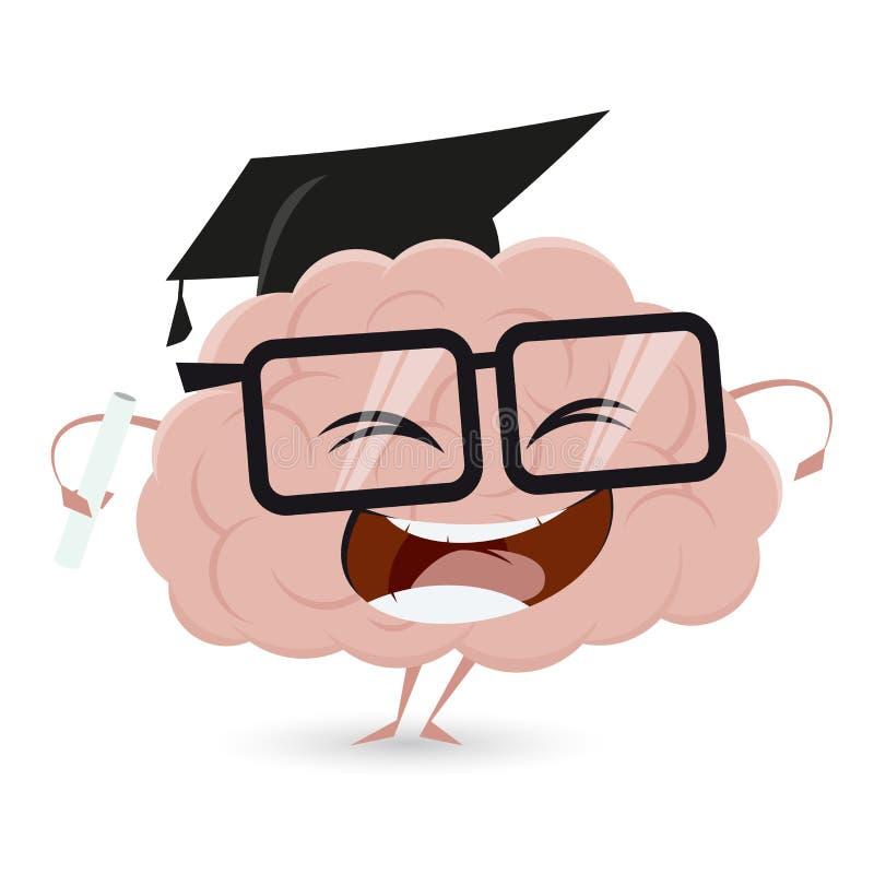 Rolig hjärna med grad royaltyfri illustrationer