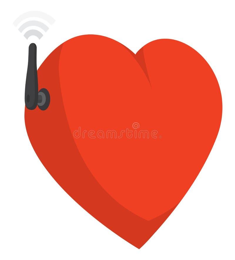 Rolig hjärta som förbinder med känslor till och med wifiantennen royaltyfri illustrationer