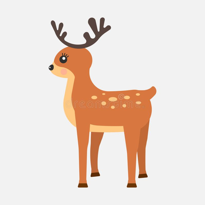Rolig hjortsymbol för tecknad film som isoleras på vit bakgrund också vektor för coreldrawillustration royaltyfri illustrationer