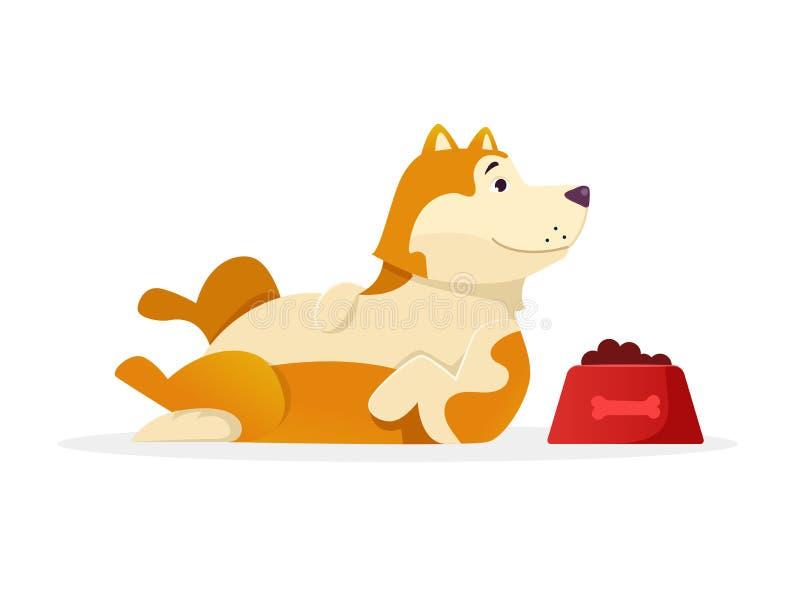 Rolig hund med illustrationen för vektor för hundmat den liggande plana Hundtecknad filmtecken som isoleras på vit bakgrund stock illustrationer
