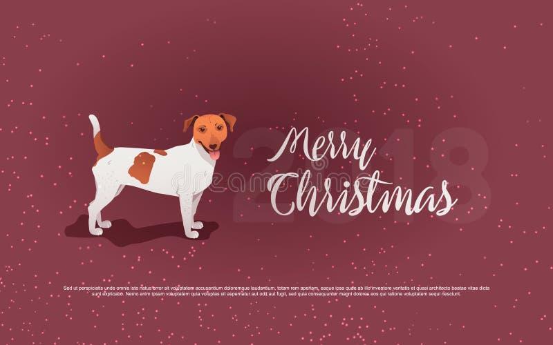 Rolig hund och glad jul Symbol av året Plan stil, illustration vektor illustrationer