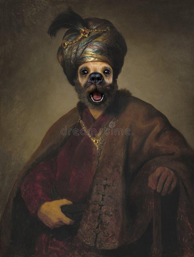 Rolig hund, Rembrandt parodi, olje- målning royaltyfri bild