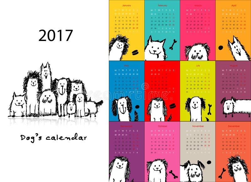 Rolig hundkapplöpning, design för kalender 2017 vektor illustrationer