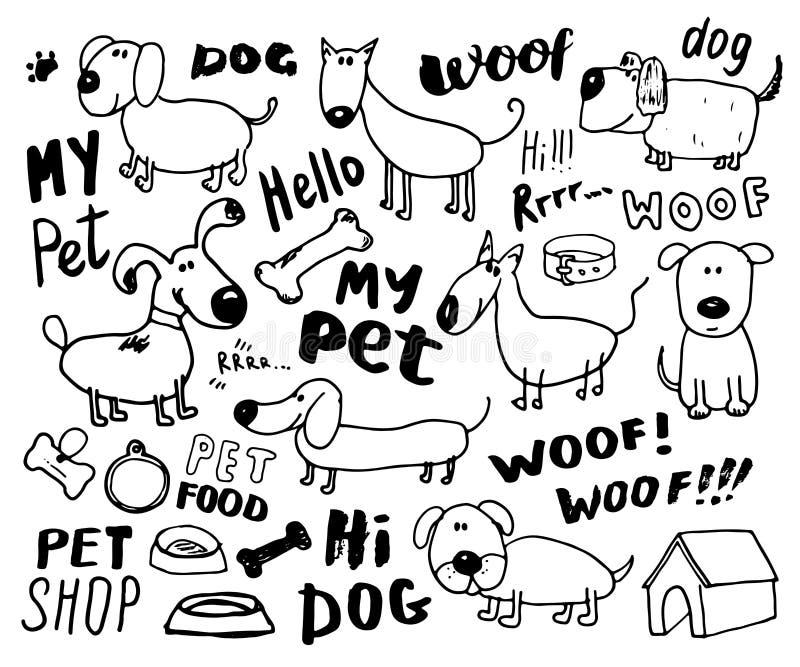 Rolig hundkapplöpningklotteruppsättning Hand dragen skissad illustration för husdjursamlingsvektor på vit bakgrund vektor illustrationer