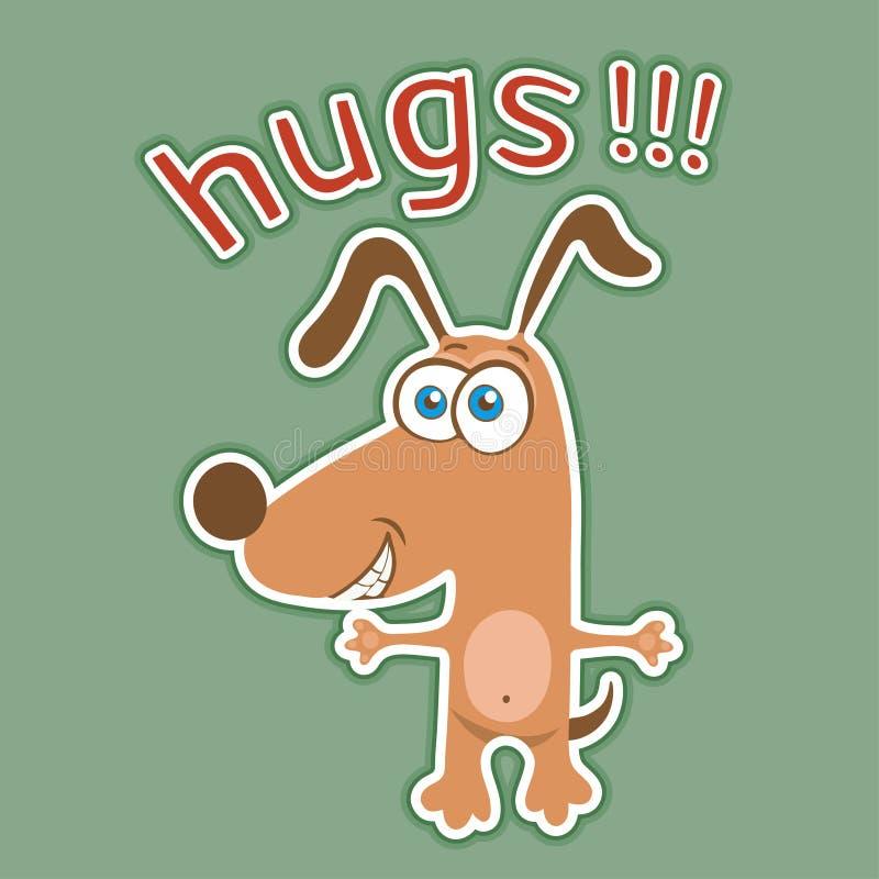 Rolig hundklistermärke, tecknad filmtecken, målat gulligt djur, färgrik teckning Öppna armar för festlig brun valp för kramar och stock illustrationer
