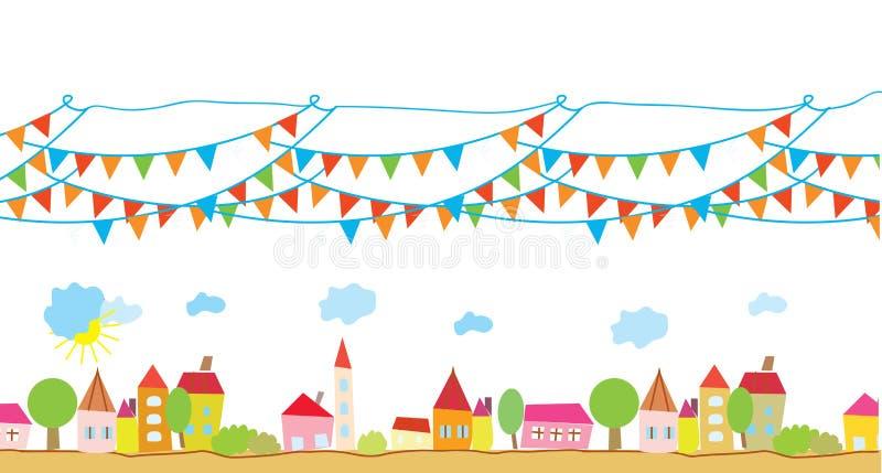 Rolig hus- och flaggabakgrund royaltyfri illustrationer