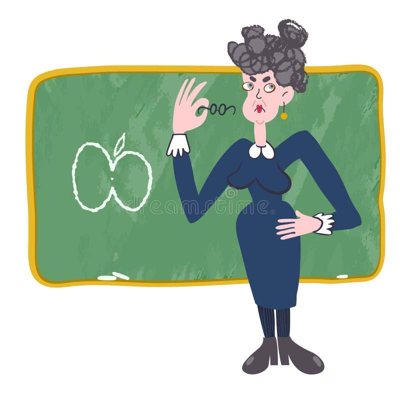 Rolig illustration av en skolalärare som rymmer exponeringsglas royaltyfri bild