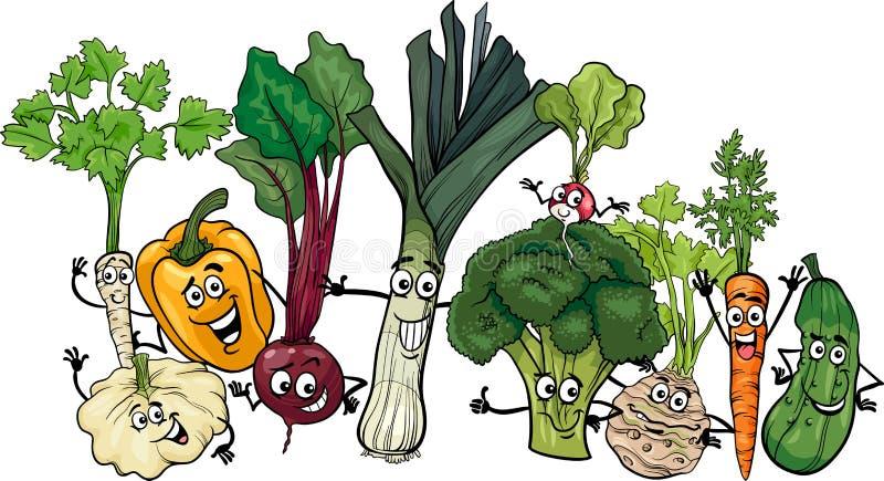 Rolig illustration för grönsakgrupptecknad film stock illustrationer